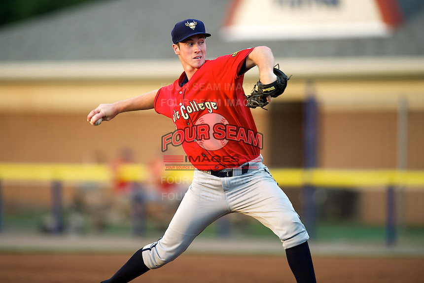 State College Spikes pitcher Jason Creasy #53 during a game against the Batavia Muckdogs at Dwyer Stadium on August 8, 2012 in Batavia, New York.  Batavia defeated State College 6-3.  (Mike Janes/Four Seam Images)