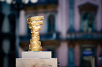 the Trofeo Senza Fine awaits it's winner at the finish in Milano<br /> <br /> 104th Giro d'Italia 2021 (2.UWT)<br /> Stage 21 (final ITT) from Senago to Milan (30.3km)<br /> <br /> ©kramon