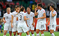 Rachel Buehler, Lauren Cheney, Christie Rampone, Shannon Boxx, Abby Wambach and Carli Lloyd (left to right) of team USA react during the FIFA Women's World Cup at the FIFA Stadium in Wolfsburg, Germany on July 6thd, 2011.