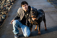 "A young man asked if I would take his picture with his dog, Diesel, ""like the truck.""  A chance encounter at the San Leandro Marina on San Francisco Bay."