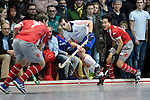 Mannheim, Germany, January 24: During the 1. Bundesliga Herren Hallensaison 2014/15 quarter-final hockey match between Mannheimer HC (white) and Club an der Alster (red) on January 24, 2015 at Irma-Roechling-Halle in Mannheim, Germany. Final score 2-3 (1-2). (Photo by Dirk Markgraf / www.265-images.com) *** Local caption *** Niklas Meinert #33 of Mannheimer HC