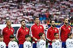 Atletico de Madrid's Miranda, Siqueira, Mandzukic, Godin and Mario Suarez before quarterfinal first leg Champions League soccer match at Vicente Calderon stadium in Madrid, Spain. April 14, 2015. (ALTERPHOTOS/Victor Blanco)