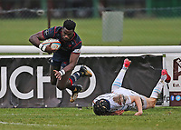 Matt Williams of London Scottish scores a try during the Greene King IPA Championship match between London Scottish Football Club and Bedford Blues at Richmond Athletic Ground, Richmond, United Kingdom on 23 December 2017. Photo by Mark Kerton / PRiME Media Images.