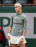 Anna Schmiedlova (SVK), challenges Venus Williams (USA), splitting the first two sets at  Roland Garros being played at Stade Roland Garros in Paris, France on May 28, 2014