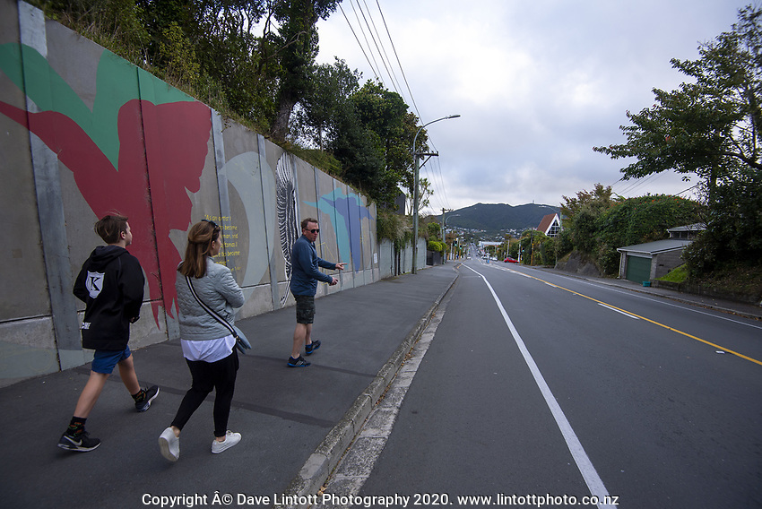 People walk down to Karori town centre at 4pm, Wednesday, during lockdown for the COVID19 pandemic in Wellington, New Zealand on Wednesday, 22 April 2020. Photo: Dave Lintott / lintottphoto.co.nz