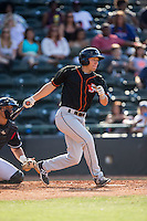 Drew Turbin (9) of the Delmarva Shorebirds follows through on his swing against the Hickory Crawdads at L.P. Frans Stadium on June 18, 2016 in Hickory, North Carolina.  The Crawdads defeated the Shorebirds 1-0 in game one of a double-header.  (Brian Westerholt/Four Seam Images)