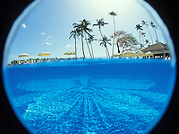 Halekulani hotel pool underwater with palm trees above water