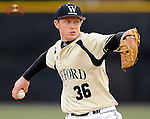 Starting pitcher Connell Anderson (36) of the Wofford College Terriers throws in a game against the Morehead State Eagles on Monday, February 17, 2014, at Russell C. King Field in Spartanburg, South Carolina. Morehead State won, 5-3. (Tom Priddy/Four Seam Images)