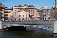 Konstakademien The Royal Academy for the fine arts. Vasabron bridge. Stockholms Ström water. Norrmalm. Stockholm. Sweden, Europe.