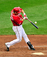 24 April 2010: Washington Nationals' left fielder Josh Willingham at bat against the Los Angeles Dodgers at Nationals Park in Washington, DC. The Dodgers edged out the Nationals 4-3 in a thirteen inning game. Mandatory Credit: Ed Wolfstein Photo