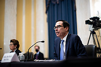 United States Secretary of the Treasury Steven T. Mnuchin, speaks during a US Senate Small Business and Entrepreneurship Committee hearing in Washington, D.C., U.S., on Wednesday, June 10, 2020. The hearing examines the government's virus relief package that offers emergency assistance to small businesses. <br /> Credit: Al Drago / Pool via CNP/AdMedia