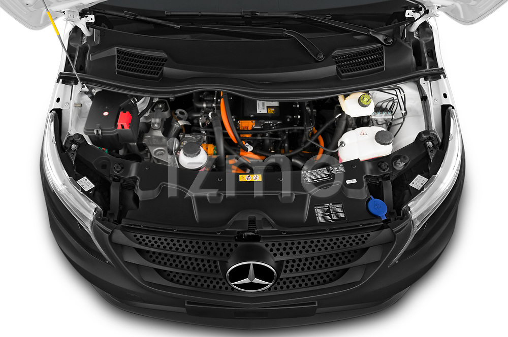 Car Stock 2020 Mercedes Benz eVito Base 4 Door Cargo Van Engine  high angle detail view
