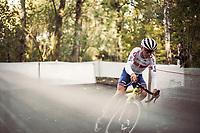 Later men U23 race winner Thomas Pidcock (GBR) cornering. <br /> <br /> UEC CYCLO-CROSS EUROPEAN CHAMPIONSHIPS 2018<br /> 's-Hertogenbosch – The Netherlands<br /> Men U23 Race