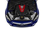 Car stock 2020 Mercedes Benz C Class Break 43 AMG 5 Door Wagon engine high angle detail view