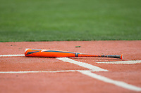 An Easton aluminum bat sits near home plate during the NCAA baseball game between the Bryant Bulldogs and the Coastal Carolina Chanticleers at Springs Brooks Stadium on March 13, 2015 in Charlotte, North Carolina.  The Chanticleers defeated the Bulldogs 7-2.  (Brian Westerholt/Four Seam Images)