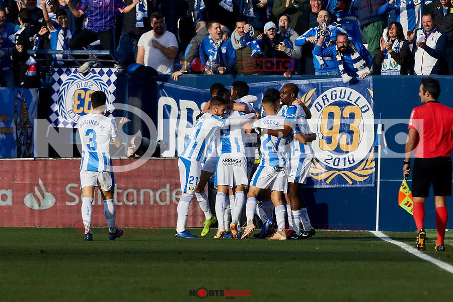 CD Leganes' players celebrate goal during La Liga match between CD Leganes and Sevilla FC at Butarque Stadium in Leganes, Spain. December 23, 2018. (ALTERPHOTOS/A. Perez Meca) /NortEPhoto.com