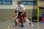 GER - Mannheim, Germany, November 28: During the 1. Bundesliga Sued Herren indoor hockey match between Mannheimer HC (red) and TG Frankenthal (white) on November 28, 2015 at Irma-Roechling-Halle in Mannheim, Germany. Final score 7-7 (HT 3-3). (Photo by Dirk Markgraf / www.265-images.com) *** Local caption *** Christian Trump #87 of TG Frankenthal, Florian Woesch #25 of Mannheimer HC
