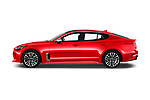 Car driver side profile view of a 2019 KIA Stinger GT 5 Door Hatchback
