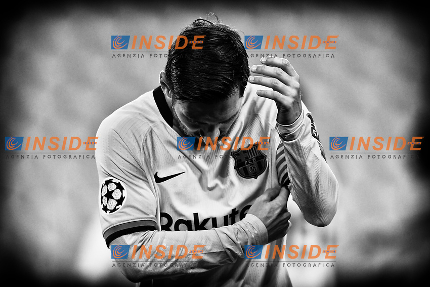 Lionel Messi of FC Barcelona reacts during the Champions League Group Stage G football match between Juventus FC and Barcelona at Juventus stadium in Torino (Italy), October, 28th, 2020. Photo Andrea Staccioli / Insidefoto