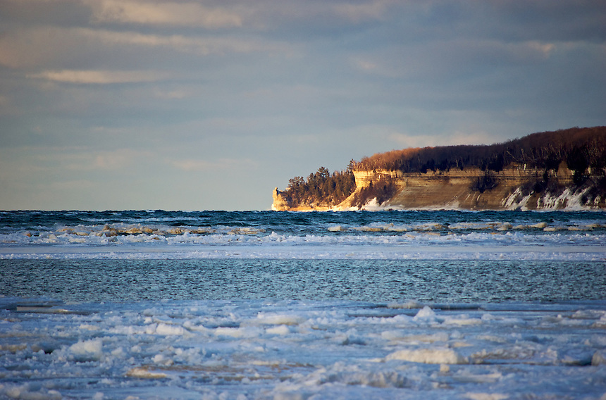 An evening scene of Pictured Rocks National Lakeshore on an early-March day.