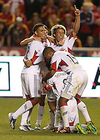 Luis Silva (l) and Nick DeLeon (r) of D.C. United celebrate their win over of Real Salt Lake at the U.S. Open Cup Final on October  1, 2013 at Rio Tinto Stadium in Sandy, Utah. DC United beat Real Salt Lake 1-0 to win the championship.