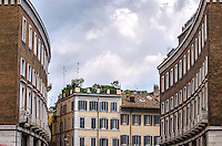 Fine Art Landscape Print Photograph. The dramatic lighting and cloud formations of this photograph, emphasizes the architectural design of many of the buildings in Rome, Italy. <br />