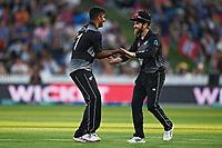 20th December 2020; Hamilton, New Zealand;  Ish Sodhi (L) and Kane williamson ccelebrate the wicket of Khushdil Shah, New Zealand Black Caps versus Pakistan, International Twenty20 Cricket. Seddon Park, Hamilton, New Zealand.