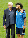 American actor Richard Gere with Real Madrid's player Marcelo Vieira during Champions League 2015/2016 training session. May 27,2016. (ALTERPHOTOS/Acero)