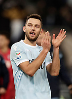 Calcio, Serie A: Lazio - Udinese, Roma, stadio Olimpico, 24 gennaio 2018.<br /> Lazio's Stefan De Vrij celebrates after winning 3-0 the Italian Serie A football match between Lazio and Udinese at Rome's Olympic stadium, January 24, 2018.<br /> UPDATE IMAGES PRESS/Isabella Bonotto