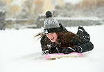 Kate Montwill sledding in the snow at Woodstock View in Ennis. Photograph by John Kelly.