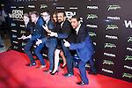 Actors Elijah Wood (3L) and Jaime Olias (L), actress Sasha Grey (C) and director Nacho Vigalondo (2R) attends `Open Windows´new film premiere at Palafox Cinemas in Madrid, Spain. June 30, 2014. (ALTERPHOTOS/Victor Blanco)