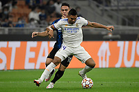 Casemiro of Real Madrid and Lautaro Martinez of FC Internazionale during the Uefa Champions League group D football match between FC Internazionale and Real Madrid at San Siro stadium in Milano (Italy), September 15th, 2021. Photo Andrea Staccioli / Insidefoto