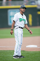 Dayton Dragons manager Luis Bolivar (14) coaches third base during the game against the West Michigan Whitecaps at Fifth Third Field on May 29, 2017 in Dayton, Ohio.  The Dragons defeated the Whitecaps 4-2.  (Brian Westerholt/Four Seam Images)