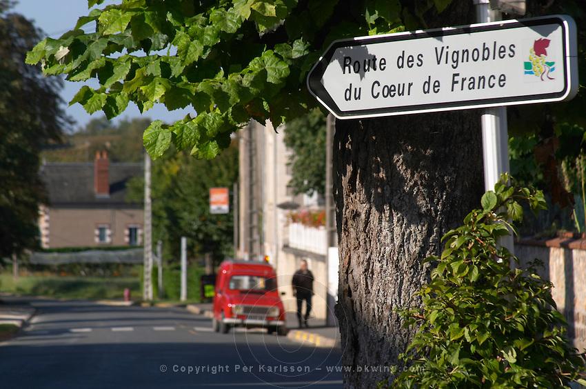 Sign with Route des Vignoble, Wine Route. Old red Reanult 4. Montigny village, Sancerre, Loire, France