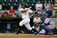 Bradenton Marauders outfielder Carlos Mesa #41 at bat in front of catcher Cam Maron #7 during a game against the St. Lucie Mets on April 12, 2013 at McKechnie Field in Bradenton, Florida.  St. Lucie defeated Bradenton 6-5 in 12 innings.  (Mike Janes/Four Seam Images)