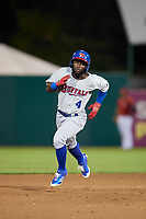 Buffalo Bisons right fielder Roemon Fields (4) runs the bases during a game against the Syracuse Chiefs on September 2, 2018 at NBT Bank Stadium in Syracuse, New York.  Syracuse defeated Buffalo 4-3.  (Mike Janes/Four Seam Images)