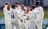 Matt Parkinson (C) of Lancashire is congratulated after taking the wicket of Matt Milnes during Kent CCC vs Lancashire CCC, LV Insurance County Championship Group 3 Cricket at The Spitfire Ground on 25th April 2021