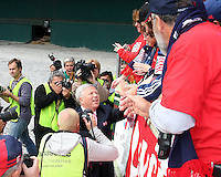 New England owner Robert Kraft greets the fans before the match. The Houston Dynamo defeated the New England Revolution 2-1 in the finals of the MLS Cup at RFK Memorial Stadium in Washington, D. C., on November 18, 2007.