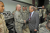 United States Secretary of Defense Donald H. Rumsfeld greets soldiers assigned to the 4th Infantry Division in Baghdad, Iraq, on April 26, 2006.  Rumsfeld and US Secretary of State Condoleezza Rice will meet jointly with Iraq's newly designated Prime Minister Jawad al-Maliki to show support for the continuing process of building a new Iraqi government. <br /> Mandatory Credit: Chad J. McNeeley / DoD via CNP