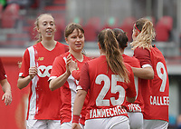 Standard players are celebrating their team's goal during a female soccer game between Standard Femina de Liege and KRC Genk Ladies  on the third matchday of the 2020 - 2021 season of Belgian Womens Super League , Saturday 3 rd of October 2020  in Liege , Belgium . PHOTO SPORTPIX.BE   SPP   SEVIL OKTEM