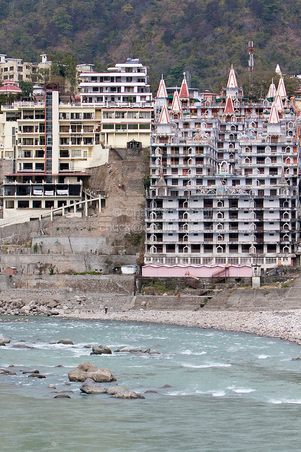 India, Rishikesh.  Hotels, Ashrams, and Guest Houses on the Banks of the Ganges (Ganga) River.