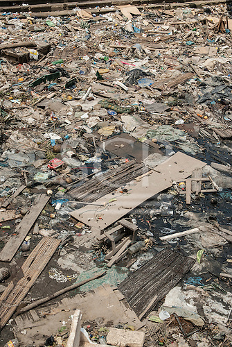 Belem, Para State, Brazil.  Ver-o-Peso fish market harbour, with rubbish in Amazon river.