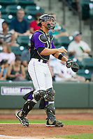 Winston-Salem Dash catcher Kevan Smith (24) gives defensive signs during the Carolina League game against the Wilmington Blue Rocks at BB&T Ballpark on August 3, 2013 in Winston-Salem, North Carolina.  The Blue Rocks defeated the Dash 4-2.  (Brian Westerholt/Four Seam Images)