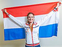 The Hague, The Netherlands, Februari 6, 2020,    Sportcampus, FedCup  Netherlands -  Balarus, Indy de Vroome (NED)<br /> Photo: Tennisimages/Henk Koster
