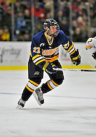 15 February 2008: Merrimack College Warriors' forward Chris Barton, a Freshman from Calgary, Alberta in action against the University of Vermont Catamounts at Gutterson Fieldhouse in Burlington, Vermont. The Catamounts defeated the Warriors 4-1 in the first game of their 2-game weekend series...Mandatory Photo Credit: Ed Wolfstein Photo