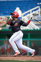 Batavia Muckdogs right fielder Albert Guaimaro (13) follows through on a swing during a game against the Auburn Doubledays on September 3, 2018 at Dwyer Stadium in Batavia, New York.  Auburn defeated Batavia 8-5.  (Mike Janes/Four Seam Images)