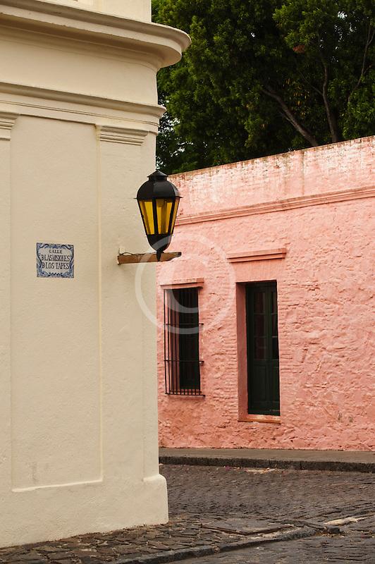 Uruguay, Colonia del Sacramento, Street corner, Historic District