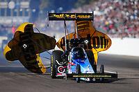 Feb. 18, 2012; Chandler, AZ, USA; NHRA top fuel dragster driver Cory McClenathan during qualifying for the Arizona Nationals at Firebird International Raceway. Mandatory Credit: Mark J. Rebilas-