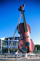 "Sydney, NS, Nova Scotia, Canada - The Big Ceilidh Fiddle (artist / welder: Cyril Hearn) at ""Joan Harriss"" Cruise Pavilion (Model Released)"