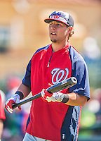 7 March 2013: Washington Nationals infielder Matt Skole awaits his turn in the batting cage prior to a Spring Training game against the Houston Astros at Osceola County Stadium in Kissimmee, Florida. The Astros defeated the Nationals 4-2 in Grapefruit League play. Mandatory Credit: Ed Wolfstein Photo *** RAW (NEF) Image File Available ***